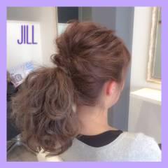 ミディアム ショート ポニーテール グラデーションカラー ヘアスタイルや髪型の写真・画像