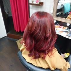セミロング チェリーレッド レッドカラー ヘアアレンジ ヘアスタイルや髪型の写真・画像