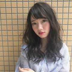 ゆるふわ 艶髪 透明感 セミロング ヘアスタイルや髪型の写真・画像