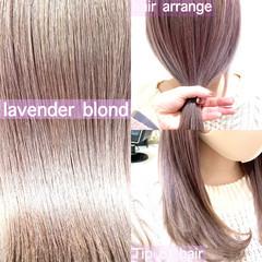 ラベンダーアッシュ ラベンダーグレージュ ラベンダーピンク ミディアム ヘアスタイルや髪型の写真・画像