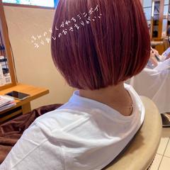 ピンクベージュ ナチュラル 丸みショート ミニボブ ヘアスタイルや髪型の写真・画像