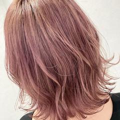 ボブ ピンク ウルフカット フェミニン ヘアスタイルや髪型の写真・画像