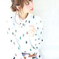 大人かわいい ヘアアレンジ セミロング フェミニン ヘアスタイルや髪型の写真・画像