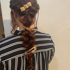 編みおろしヘア ナチュラル ロング ヘアアレンジ ヘアスタイルや髪型の写真・画像