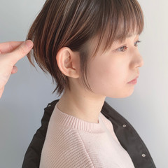 ショートヘア ハイライト ナチュラル ショートボブ ヘアスタイルや髪型の写真・画像