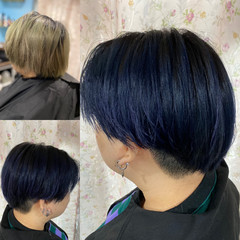 ベリーショート ネイビーアッシュ モード ネイビーブルー ヘアスタイルや髪型の写真・画像