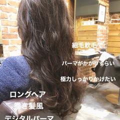 デジタルパーマ ナチュラル アッシュブラウン アンニュイほつれヘア ヘアスタイルや髪型の写真・画像