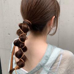 ナチュラル 簡単ヘアアレンジ 紐アレンジ セミロング ヘアスタイルや髪型の写真・画像