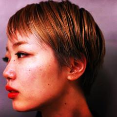 ショート ハイライト 外国人風 ナチュラル ヘアスタイルや髪型の写真・画像