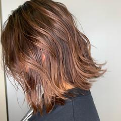 エレガント ボブ 外国人風カラー オレンジベージュ ヘアスタイルや髪型の写真・画像