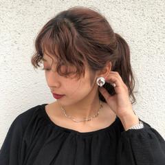 ミディアム ヘアアレンジ アプリコットオレンジ ナチュラル ヘアスタイルや髪型の写真・画像