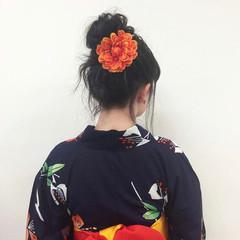 簡単ヘアアレンジ セミロング 浴衣ヘア ガーリー ヘアスタイルや髪型の写真・画像