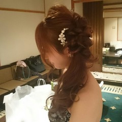 ブライダル 大人かわいい 結婚式 ハーフアップ ヘアスタイルや髪型の写真・画像
