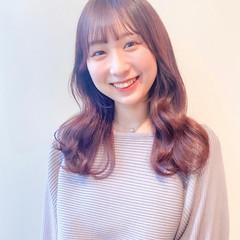 韓国ヘア ピンクベージュ シースルーバング セミロング ヘアスタイルや髪型の写真・画像