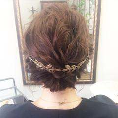 セミロング アッシュ 結婚式 ヘアアレンジ ヘアスタイルや髪型の写真・画像