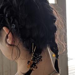 簡単ヘアアレンジ ボブ 編み込み ヘアアレンジ ヘアスタイルや髪型の写真・画像