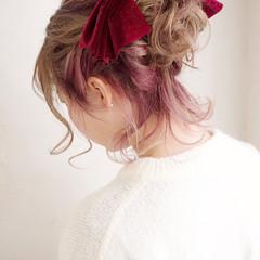 ピンク インナーカラー ボブ ヘアアレンジ ヘアスタイルや髪型の写真・画像