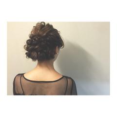 大人かわいい まとめ髪 編み込み 暗髪 ヘアスタイルや髪型の写真・画像