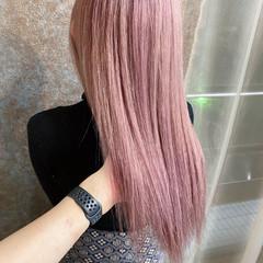 ダブルブリーチ ベリーピンク ブリーチカラー ピンクベージュ ヘアスタイルや髪型の写真・画像