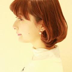 ナチュラル ボブ 前髪あり ガーリー ヘアスタイルや髪型の写真・画像