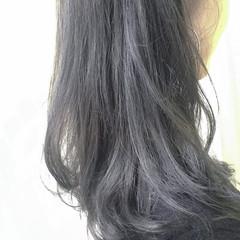 アッシュ ブルー 外国人風カラー ミディアム ヘアスタイルや髪型の写真・画像