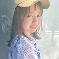 ミディアム ヘアアレンジ 透明感 夏 ヘアスタイルや髪型の写真・画像