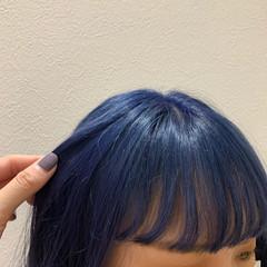 ブルーブラック ストリート ロング ネイビーブルー ヘアスタイルや髪型の写真・画像