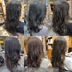 無造作パーマ ロング イルミナカラー グレージュ ヘアスタイルや髪型の写真・画像
