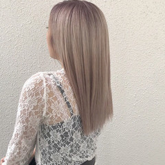 ロング エレガント 上品 ハイトーン ヘアスタイルや髪型の写真・画像