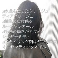 スモーキーカラー グレージュ アッシュグレージュ ミディアム ヘアスタイルや髪型の写真・画像