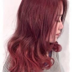 グラデーションカラー ピンク ボブ ミディアム ヘアスタイルや髪型の写真・画像