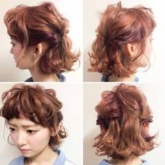 ヘアアレンジ 丸顔 ボブ ベース型 ヘアスタイルや髪型の写真・画像