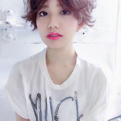 前髪あり ショート ハイライト 外国人風 ヘアスタイルや髪型の写真・画像