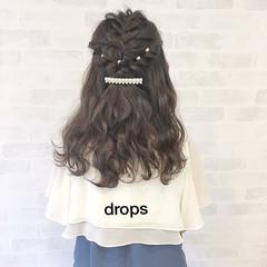 ヘアアレンジ 編み込み ガーリー セミロング ヘアスタイルや髪型の写真・画像