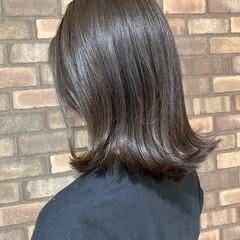 ミディアム 透明感 切りっぱなしボブ 外ハネボブ ヘアスタイルや髪型の写真・画像