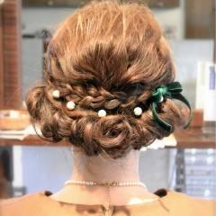 ヘアアレンジ 三つ編み セミロング 大人かわいい ヘアスタイルや髪型の写真・画像