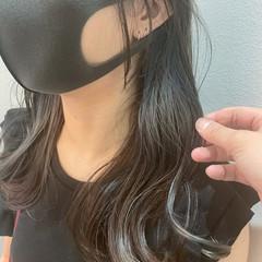 グレーアッシュ グレー インナーカラーグレージュ モード ヘアスタイルや髪型の写真・画像