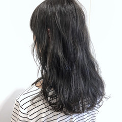フェミニン グレージュ 透明感 セミロング ヘアスタイルや髪型の写真・画像