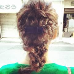 編み込み 三つ編み ナチュラル 大人かわいい ヘアスタイルや髪型の写真・画像