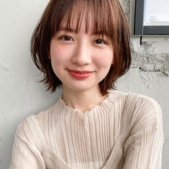 デジタルパーマ ボブ ひし形シルエット アンニュイほつれヘア ヘアスタイルや髪型の写真・画像