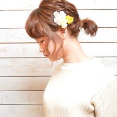 ナチュラル 大人かわいい ヘアアレンジ お花ヘア ヘアスタイルや髪型の写真・画像