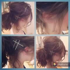 ヘアアクセ ヘアアレンジ ヘアピン ポニーテール ヘアスタイルや髪型の写真・画像