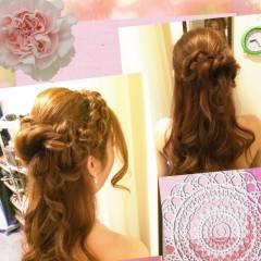 コンサバ ハーフアップ ゆるふわ ヘアアレンジ ヘアスタイルや髪型の写真・画像