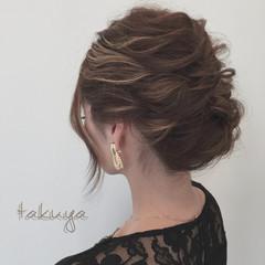結婚式 くるりんぱ ミディアム 編み込み ヘアスタイルや髪型の写真・画像