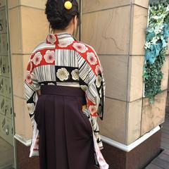 着物 ミディアム おだんご 袴 ヘアスタイルや髪型の写真・画像