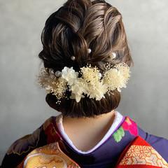 ドライフラワー インナーカラー 成人式ヘアメイク着付け 結婚式ヘアアレンジ ヘアスタイルや髪型の写真・画像