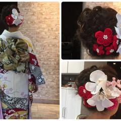 大人かわいい 編み込み ヘアアレンジ 着物 ヘアスタイルや髪型の写真・画像