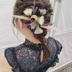ナチュラル セミロング ヘアアレンジ ロープ編みアレンジヘア ヘアスタイルや髪型の写真・画像