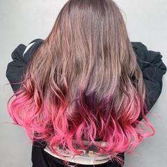 バレイヤージュ ハイライト グラデーションカラー ストリート ヘアスタイルや髪型の写真・画像