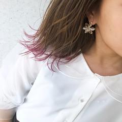 ピンク ナチュラル 切りっぱなしボブ 裾カラー ヘアスタイルや髪型の写真・画像